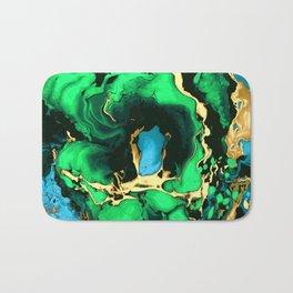Gold green and black Marble texture acrylic paint art Bath Mat
