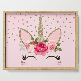 Pink & Gold Cute Floral Unicorn Serving Tray