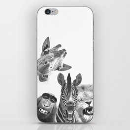 Black and White Jungle Animal Friends iPhone Skin