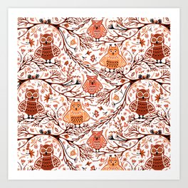 Cute Owls in Fall on Tree Branches Art Print