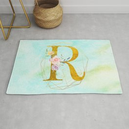 Gold Foil Alphabet Letter R Initials Monogram Frame with a Gold Geometric Wreath Rug