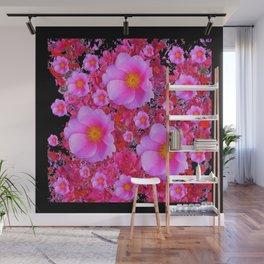 Black Design Fuchsia Roses Floral Art Wall Mural