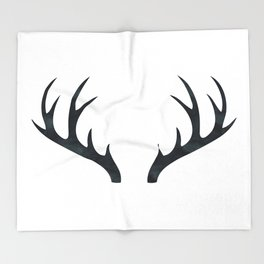 Antlers Black and White Throw Blanket