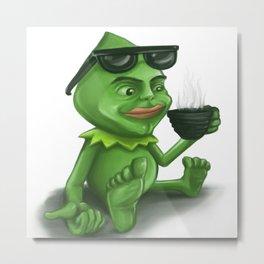 Coffe Frog Metal Print