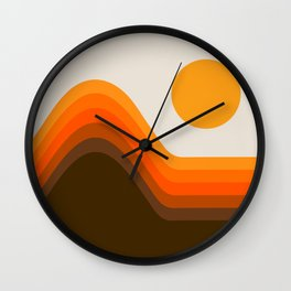 Golden Horizon Diptych - Left Side Wall Clock
