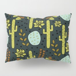 Cacti and butterflies at night Pillow Sham