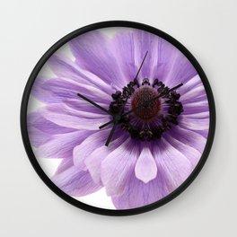 Lilac Anemone Flower Wall Clock