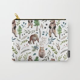 Bears, trees, and leaves pattern Carry-All Pouch