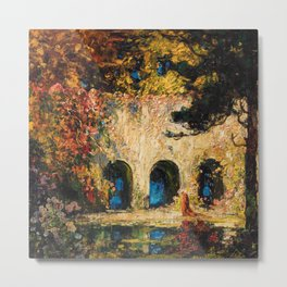 Romantic Parisian Floral Enchanted Garden Scene, Solitary Thoughts by Thomas Edwin Mostyn Metal Print