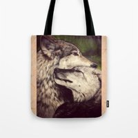 wolves Tote Bags featuring Wolves by CLE.ArT.