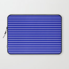 Royal Blue and White Horizontal Stripes Laptop Sleeve