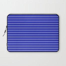 Royal Blue and White Horizontal Stripes Laptop Sleeve