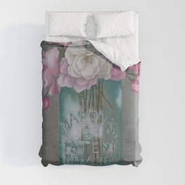 Antique Mason Jar Number 6 1858 with Pink Roses Duvet Cover