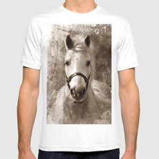 HORSE I - SEPIA LARGE Mens Fitted Tee White