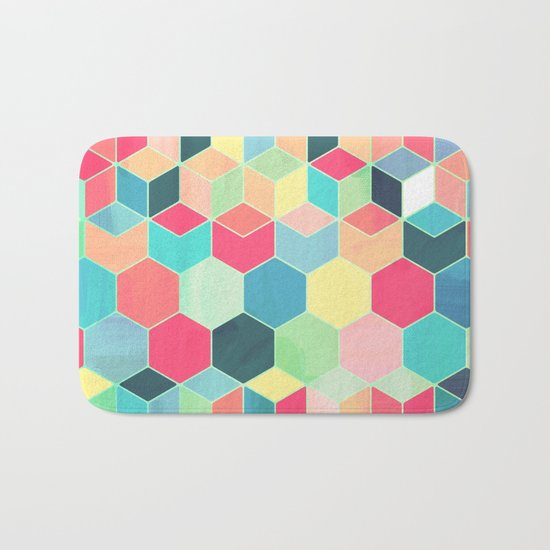 Yummy Summer Colour Honeycomb Pattern Bath Mat