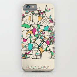 Colorful City Maps: Kuala Lumpur, Malaysia iPhone Case