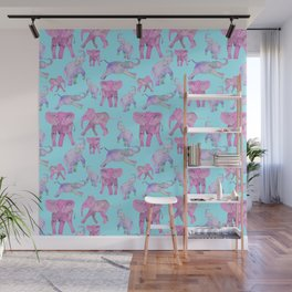 Pink and Lavender Elephants Wall Mural