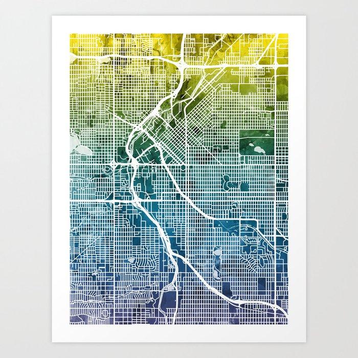 Colorado Map Art.Denver Colorado Street Map Art Print By Artpause Society6