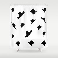 hats Shower Curtains featuring Many Hats by modestystudio
