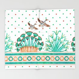 Lotus and Papyrus Throw Blanket