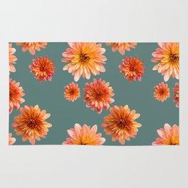 Coral Mum Floral Pattern - Scattered Flowers on Teal - Chrysanthemum Bloom Pattern - Real Flowers Rug
