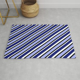 TEAM COLORS 1....Dk Blue, light blue, black white diagonal stripe Rug