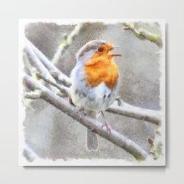 Angelic Robin Watercolor Metal Print
