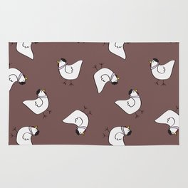 the happy french hen in lilac greige Rug