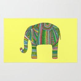 Abstract elephant Yellow african illustration Animal art print Home decor Rug