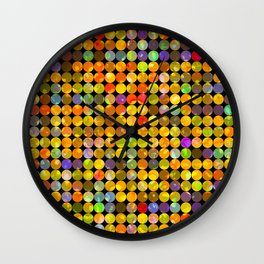 colorful geometric circle pattern abstract in orange yellow blue red Wall Clock