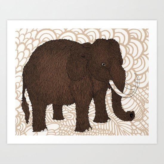 Brown Woolly Mammoth Art Print
