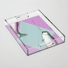 Narwhal Geometric Bright and Colorful Acrylic Tray