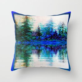 BLUE SCENIC MOUNTAIN PINES LAKE REFLECTION ART  PATTERNS Throw Pillow
