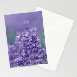Lavender with bee in the background Stationery Cards