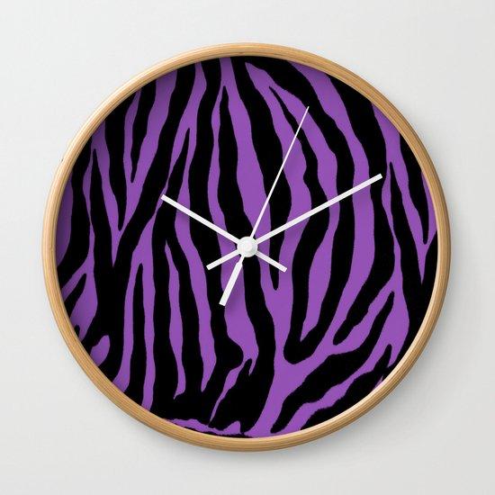 Purple Zebra Background Wall Clock