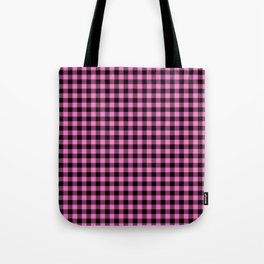 Classic Pink Country Cottage Summer Buffalo Plaid Tote Bag