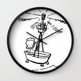 Baby Ape in the Bath-Copter Wall Clock