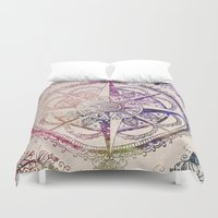 compass Duvet Covers featuring Voyager II by Jenndalyn
