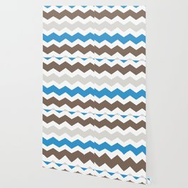 Brown Blue Gray Chevron Wallpaper