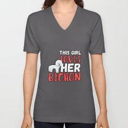 This Girl Loves Her Bichon Frise Unisex V-Neck