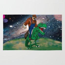 Raccoon Dino Rider.... Rug