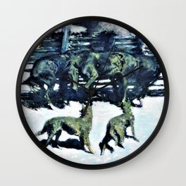 Frederic Remington - The Call for Help - Digital Remastered Edition Wall Clock