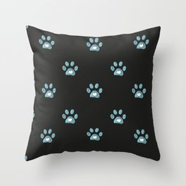 Cute blue doodle paw prints with hearts Throw Pillow