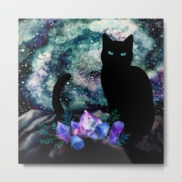 The Cat With Aquamarine Eyes And Celestial Crystals Metal Print