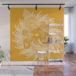 Ganesha Lineart Yellow White Wall Mural