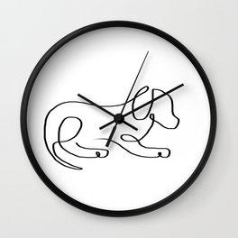 One line sleepy dog Wall Clock