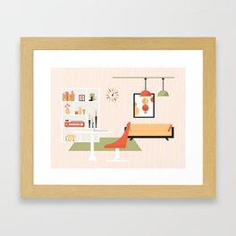 Mid-Century Modern Living - Living Room Framed Art Print