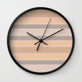 Beige, brown, grey stripes Wall Clock