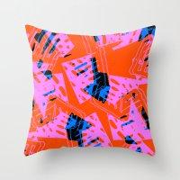orange pattern Throw Pillows featuring Orange Pattern by Sarah Bagshaw
