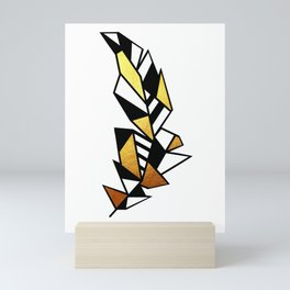 Gold Feather Design Mini Art Print